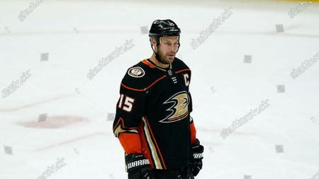 Anaheim Ducks center Ryan Getzlaf (15) stands on the ice during an NHL hockey game against the Vegas Golden Knights, in Anaheim, Calif