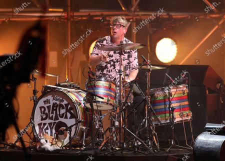 Stock Image of The Black Keys perform during the Triller Fight Club Night at Mercedes Benz Stadium, in Atlanta