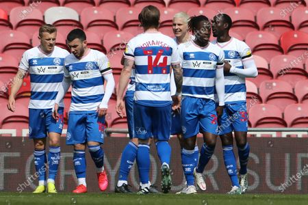 Lee Wallace of Queen Park Rangers celebrates with his team mates after scoring their second goal  during the Sky Bet Championship match between Middlesbrough and Queens Park Rangers at the Riverside Stadium, Middlesbrough, England on 17th April 2021.