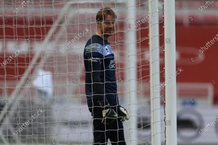 Queens Park Rangers' Joe Lumley warms up prior to the Sky Bet Championship match between Middlesbrough and Queens Park Rangers at the Riverside Stadium, Middlesbrough, England on 17th April 2021.