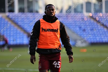 Mark Marshall of Northampton Town warms up ahead of the Sky Bet League 1 match between Peterborough and Northampton Town at Weston Homes Stadium, Peterborough, England on 16th April 2021.
