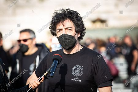 italian singer Max Gazze during Entertainment operators protest as part of the national demonstration of the entertainment sector and the events in crisis for the Coronavirus emergency (Covid-19) with 1000 trunks in Piazza del Popolo, in Rome, Italy on 17 April 2021.