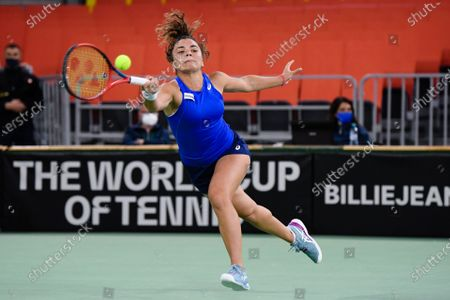 Stock Image of Jasmine Paolini player of team Italy during the match against Elena Gabriela Ruse, romanian player during the Billie Jean King cup in Cluj-Napoca, 17 April 2021