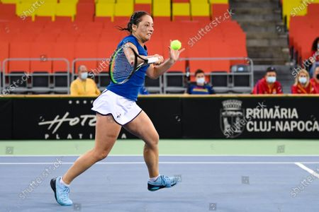 Stock Picture of Elisabeta Cocciaretto player of team Italy during the match against Mihaela Buzarnescu, romanian player during the Billie Jean King cup in Cluj-Napoca, 17 April 2021