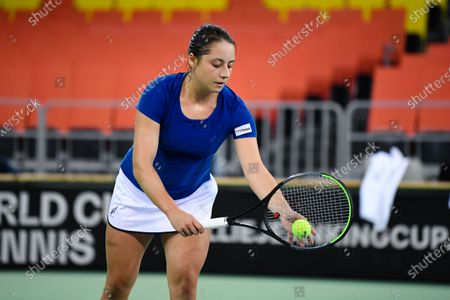 Elisabeta Cocciaretto player of team Italy during the match against Mihaela Buzarnescu, romanian player during the Billie Jean King cup in Cluj-Napoca, 17 April 2021