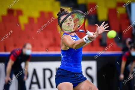 Stock Picture of Jasmine Paolini player of team Italy during the match against Elena Gabriela Ruse, romanian player during the Billie Jean King cup in Cluj-Napoca, 17 April 2021