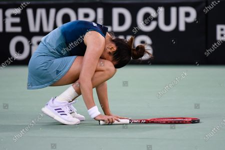 Elena Gabriela Ruse, player of team Romania after winning the match against Jasmine Paolini, italian player during the Billie Jean King cup in Cluj-Napoca, 17 April 2021