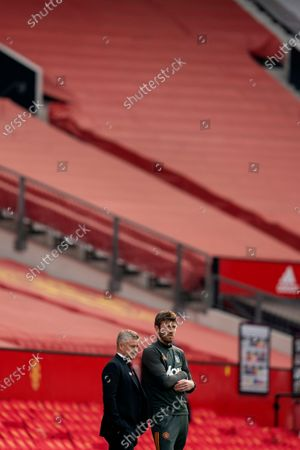 Stock Image of Manchester United manager Ole Gunnar Solskjaer and assistant Michael Carrick
