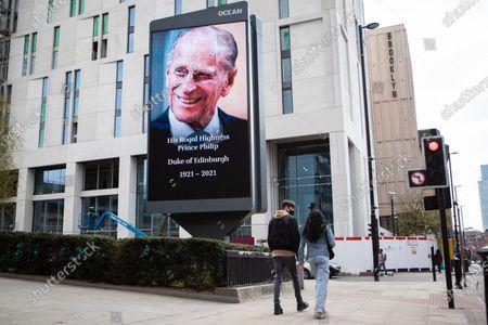 An image in memory of HRH Duke of Edinburgh, Prince Phillip in Manchester.