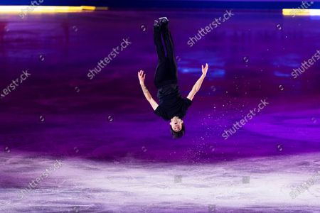 Stock Photo of U.S.A.'s Nathan Chen performs during the exhibition concluding the ISU World Team Trophy figure skating competition in Osaka, western Japan