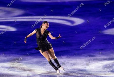 Japan's Kaori Sakamoto performs during the exhibition concluding the ISU World Team Trophy figure skating competition in Osaka, western Japan