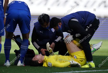 Yang Hyung-Mo of Suwon Samsung Bluewings reacts after being injured during the K League 1 match between Suwon Samsung Bluewings and Ulsan Hyundai at the Suwon World Cup Stadium in Suwon, South Korea, 18 April 2021.