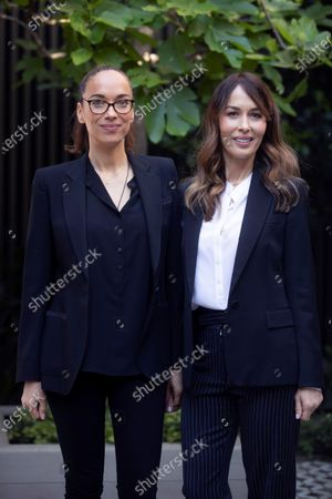 Stock Photo of Charlie Chaplin's granddaugthers, film maker Carmen Chaplin (L) and executive producer Dolores Chaplin (R) pose prior to attending a debate about Charlie Chaplin on the ocassion of the BCN Film Fest, in Barcelona, Catalonia, Spain, 18 April 2021. Several movies by and with the famous silent movie star Charlie Chaplin will be shown within the fifth edition of the 'Festival Internacional De Cinema De Barcelona Sant Jordi', or BCN Film Fest, that runs from 15 to 23 April 2021.