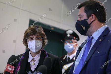 Giulia Bongiorno, Matteo Salvini's lawyer, during the press conference in Palermo.