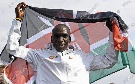 Eliud Kipchoge of Kenya celebrates after winning the NN Mission Marathon at Enschede Airport in Enschede, Netherlands