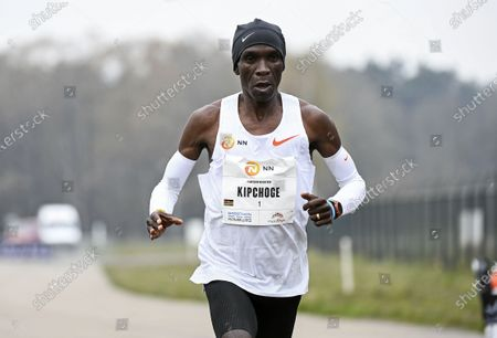 Eliud Kipchoge of Kenya runs to win the NN Mission Marathon at Enschede Airport in Enschede, Netherlands