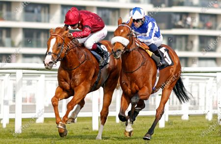 FOXES TALES (right, Silvestre De Sousa) beats COUNSEL (left) in The Dubai Duty Free Tennis Championships Maiden Stakes Div2 Newbury