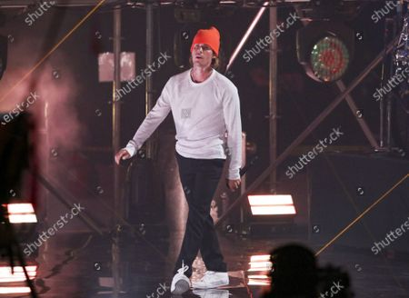 Justin Bieber performs during the Triller Fight Club Night at Mercedes Benz Stadium, in Atlanta
