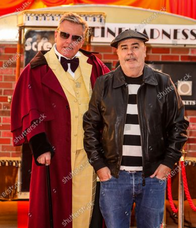 """Suggs aka Suggs and Chris Foreman of Madness attend the """"Mad Miniature"""" premiere at Odeon Luxe Leicester Square in London."""
