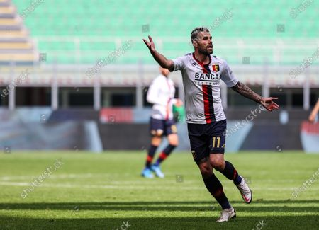 Valon Behrami of Genoa CFC gestures