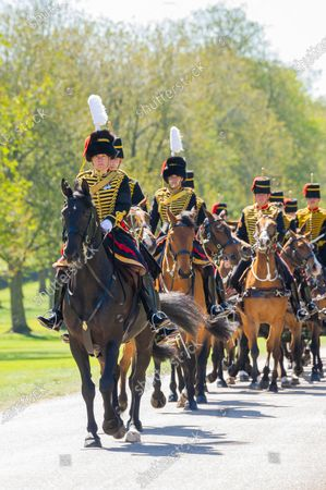 After seven days of mourning Prince Philip will be laid to rest today (Sat) in a small private funeral at St George's Chapel, Windsor, Berks..Pictures shows King's Troop, Royal Horse Artillery.