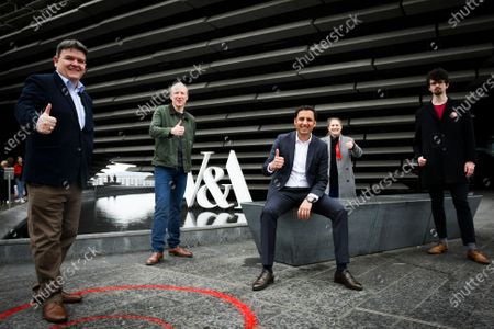 Stock Photo of Scottish Labour Leader Anas Sarwar campaigns for the up-and-coming Scottish Elections by promoting his party's National Recovery Plan during a campaign visit to V&A Dundee on April 17, 2021 in Dundee, Scotland.(L to R) Richard McCready, Michael Marra, Anas Sarwar, Mercedes Villalba, Owen Wright. Scotland goes to the poles on the 6th of May to elect 129 MSP's to the Scottish Parliament.