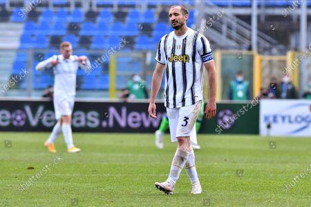 Juventus' Giorgio Chiellini reacts at the end of the Italian Serie A soccer match Atalanta BC vs Juventus at the Gewiss Stadium in Bergamo, Italy, 18 April 2021.