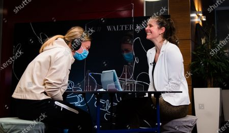 Simona Halep of Romania & Julia Goerges of Germany ahead of the 2021 Porsche Tennis Grand Prix WTA 500 tournament