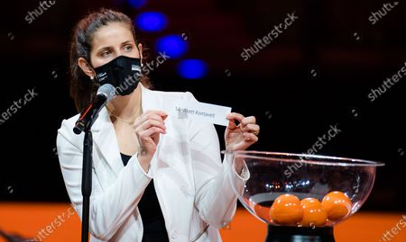 Julia Goerges of Germany during the draw ceremony of the 2021 Porsche Tennis Grand Prix WTA 500 tournament