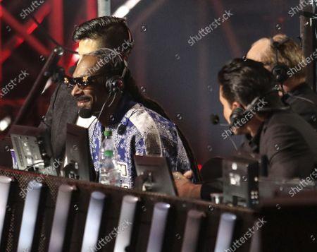 Mario Lopez, Snoop Dogg, Al Bernstein and Pete Davidson announce during the Triller Fight Club Night at Mercedes Benz Stadium, in Atlanta
