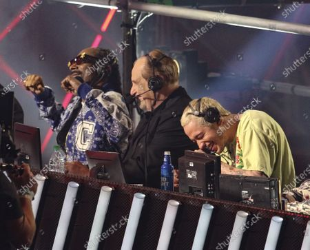 Stock Photo of Snoop Dogg, Al Bernstein and Pete Davidson announce during the Triller Fight Club Night at Mercedes Benz Stadium, in Atlanta