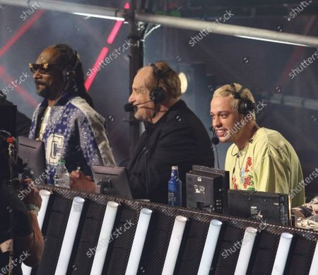 Snoop Dogg, Al Bernstein and Pete Davidson announce during the Triller Fight Club Night at Mercedes Benz Stadium, in Atlanta