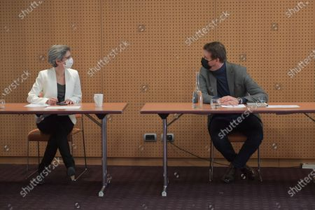 Stock Picture of Sandrine Rousseau and Yannick Jadot. Following the call to a unite, launched on March 29, 2021 by Yannick Jadot, a European MEP from EELV, he gathered the leaders of the parties of the left with EELV members: Julien Bayou, Secretary National EELV, Eric Piolle mayor EELV de Grenoble, Sandrine Rousseau EELV, Benoit Hamon de Generation.s, Olivier Faure, Secretary National Socialist Party, Anne Hidalgo, PS mayor of Paris, Eric Coquerel, dewhore LFI, Communist Party of France, Mathieu Orphelin dewhore ex-LREM, Guillo Lacroix, president of the Radical Left Party, Corinne Lepage, president of Cap 21, Raphael Glucksmann eurodewhore, of Place publique on Saturday 17 April 2021, at the Holiday Inn hotel in the 19th arrondissement of Paris, in an attempt to build a rally for the €presidential election in 2022.