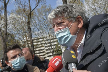 Eric Coquerel dewhore LFI at the exit of the meeting, made at the initiative of Yannick Jadot, EELV Eurodewhore, with the leaders of the parties of the left and the EELV members on Saturday 17 April 2021, at the Holiday Inn hotel in the 19th arrondissement of Paris, in an attempt to build a rally for presidential election in 2 2022.