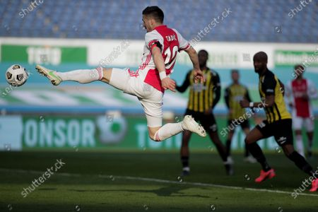 Ajax's Dusan Tadic comes a few inches short of scoring during the TOTO KNVB Cup final soccer match between Ajax and Vitesse at De Kuip stadium in Rotterdam, Netherlands