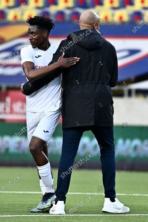 Anderlecht's Albert Sambi Lokonga and Anderlecht's head coach Vincent Kompany celebrate after winning a soccer match between Sint-Truidense VV and RSCA Anderlecht, Sunday 18 April 2021 in Sint-Truiden, on day 34, last day of the regular competition of the 'Jupiler Pro League' first division of the Belgian championship.