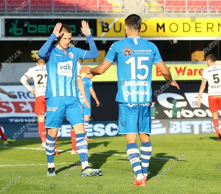 Gent's Alexandre De Bruyne15 Gent's Milad Mohammadi celebrate after scoring during a soccer match between SV Zulte Waregem and KAA Gent, Sunday 18 April 2021 in Waregem, on day 34, teh last day of the regular competition of the 'Jupiler Pro League' first division of the Belgian championship.