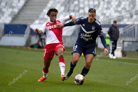 Stock Picture of Girondins Bordeaux player Hatem Ben Arfa (R) in action against Monaco player Gelson Batalha Martins (L) during the French Ligue 1 soccer match Bordeaux vs Monaco at Matmut stadium in Bordeaux, France, 18 April 2021.