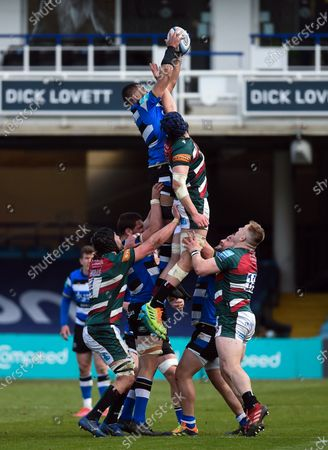 Stock Picture of Taulupe Faletau of Bath Rugby wins the ball at a lineout