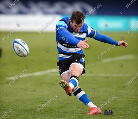 Stock Picture of Ben Spencer of Bath Rugby kicks the match-winning conversion