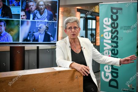 French Junior Minister of Remembrance and Veterans Affairs and Modem/LREM candidate for the New Aquitaine regional elections Genevieve Darrieussecq, launches her campaign for the elections in Bordeaux on April 16, 2021.