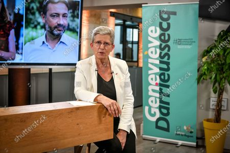 Stock Picture of French Junior Minister of Remembrance and Veterans Affairs and Modem/LREM candidate for the New Aquitaine regional elections Genevieve Darrieussecq, launches her campaign for the elections in Bordeaux on April 16, 2021.