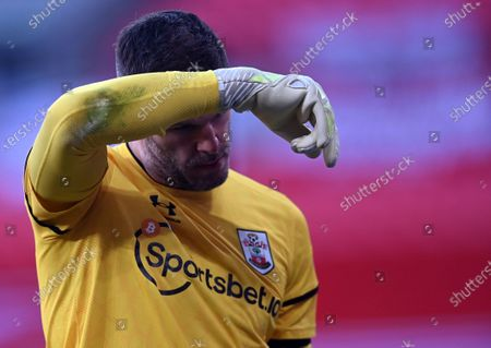 Southampton's goalkeeper Fraser Forster reacts during the English FA Cup semi final soccer match between Leicester City and Southampton FC in London, Britain, 18 April 2021.