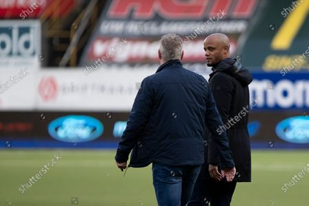 STVV's head coach Peter Maes and Anderlecht's head coach Vincent Kompany pictured after a soccer match between Sint-Truidense VV and RSCA Anderlecht, Sunday 18 April 2021 in Sint-Truiden, on day 34, last day of the regular competition of the 'Jupiler Pro League' first division of the Belgian championship.