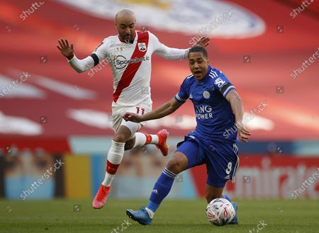 Leicester's Youri Tielemans (R) in action against Southampton's Nathan Redmond (L) during the English FA Cup semi final soccer match between Leicester City and Southampton FC in London, Britain, 18 April 2021.