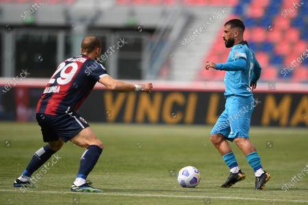 """Daniele Verde (Spezia)Lorenzo De Silvestri (Bologna)       during the Italian """"Serie A"""" match between Bologna 4-1 Spezia  at  Renato Dall Ara Stadium in Bologna , Italy."""