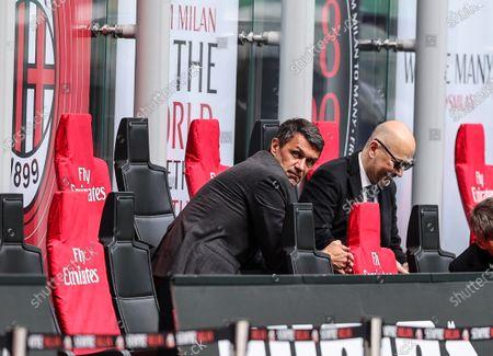 Paolo Maldini Technical Area Director of AC Milan and Ivan Gazidis A.D. during the 2020/21 Italian Serie A football match between AC Milan and Genoa CFC at the Giuseppe Meazza Stadium. Final score; AC Milan 2:1 Genoa CFC.