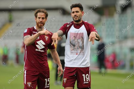 Antonio Sanabria (Torino FC) and Cristian Ansaldi (Torino FC) celebrates the goal
