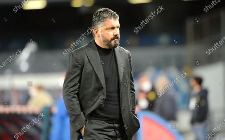 Napoli's head coach Gennaro Gattuso inspects the pitch prior to the Italian Serie A soccer match between SSC Napoli and Inter Milan at Diego Armando Maradona stadium in Naples, Italy, 18 April 2021.