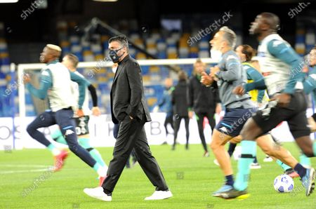 Napoli's head coach Gennaro Gattuso (C) inspects the pitch prior to the Italian Serie A soccer match between SSC Napoli and Inter Milan at Diego Armando Maradona stadium in Naples, Italy, 18 April 2021.